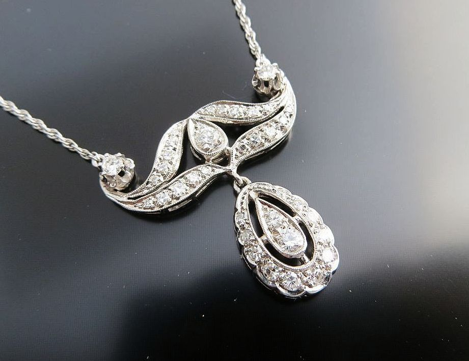 Exceptional Vintage 14K White Gold Diamond Necklace