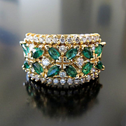 Lady's Vintage 14K Emerald & Diamond Ring