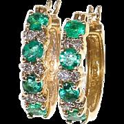 Lady's Vintage 14K Emerald & Diamond Earrings