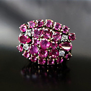 Lady's Vintage 14K Rose Gold Ruby & Diamond Ring