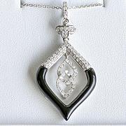 Lady's Vintage 18K Onyx & Diamond Pendant