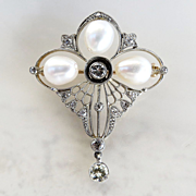 Ladys Circa 1900 Antique Edwadian Platinum, Diamond & Cultured Pearl Brooch / Pendant