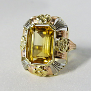 Lady's Art Nouveau 14K Citrine Ring