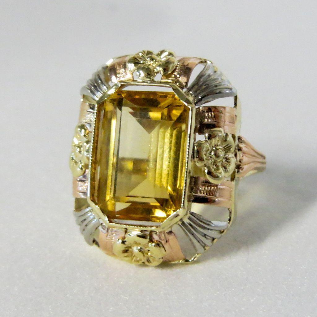 Lady's Art Nouveau 14K Citrine Ring