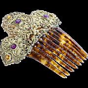 Circa 1890 Lady's Jeweled Hair Comb