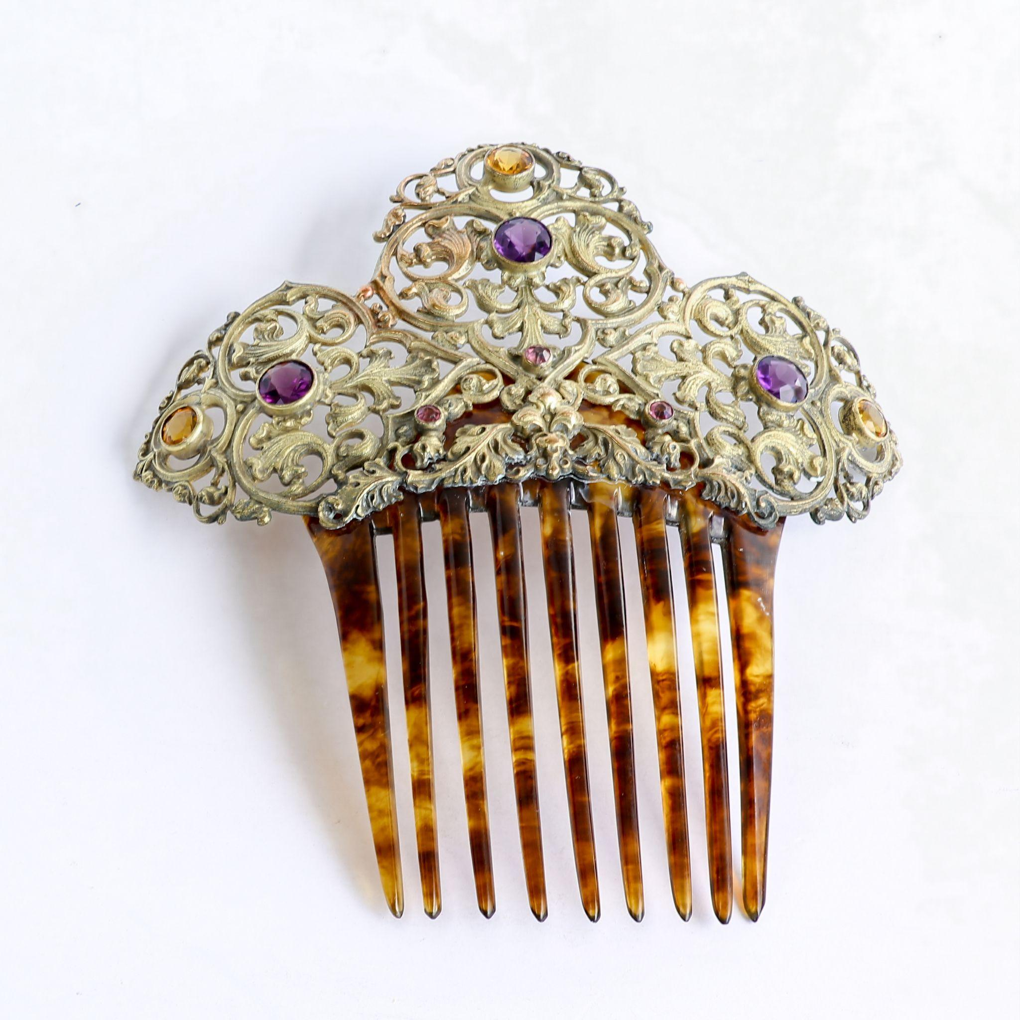 Circa 1890 Lady's Jeweled Hair Comb from the-vault on Ruby Lane