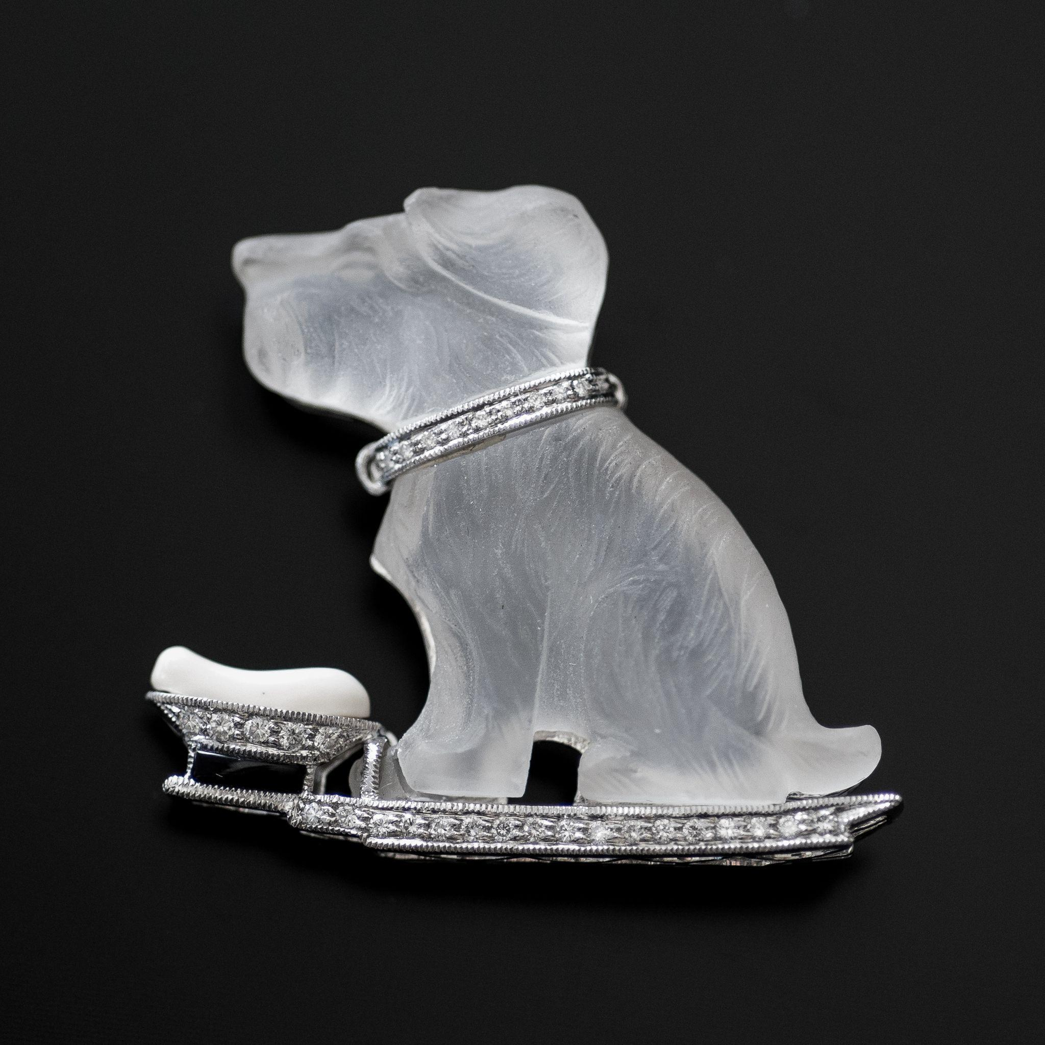 Amazing Vintage Crystal & Diamond Platinum Dog Brooch