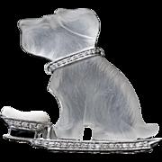 Amazing Vintage Crystal & Diamond Platinum Dog Brooch