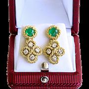 Lady's Vintage 18K Emerald & Diamond Earrings