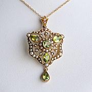 Lady's Circa 1890 15K Art Nouveau Peridot & Seed Pearl Lavaliere