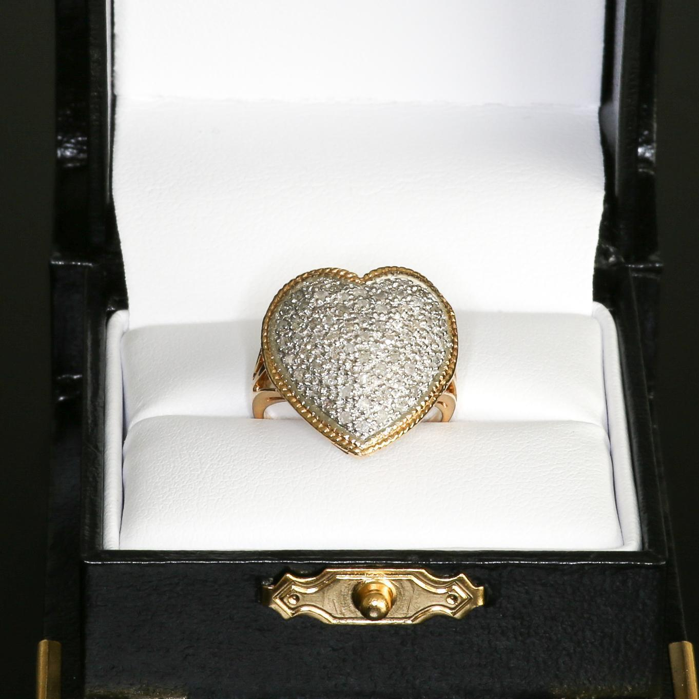 Lady's Vintage 14K Pave Diamond Heart Shaped Ring