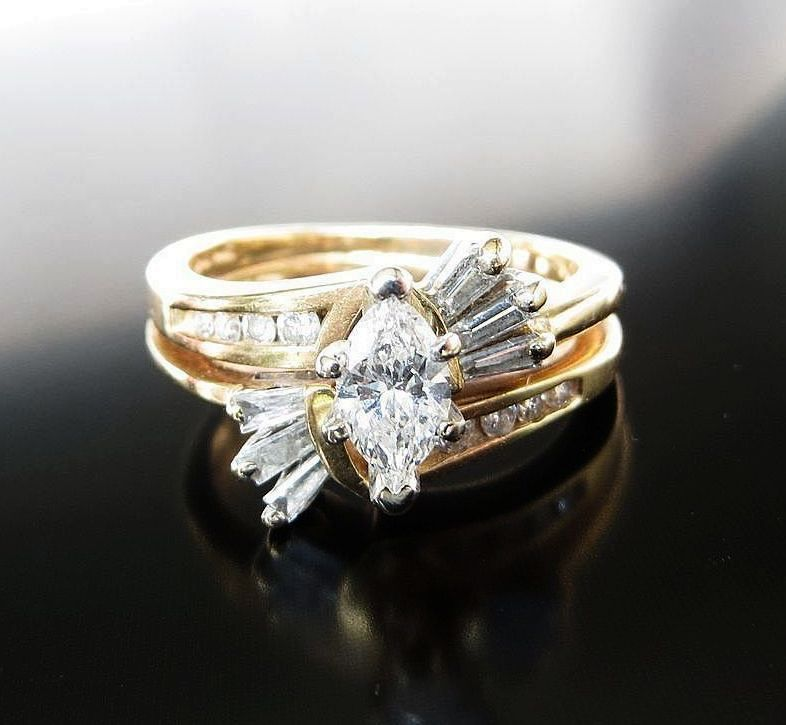 Lady's Vintage 14K Diamond Wedding Set Rings