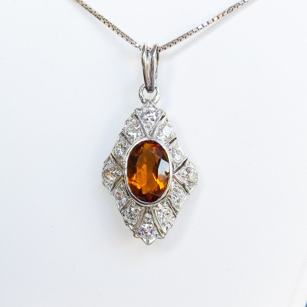 Vintage Lady's Diamond & Orange Citrine Pendant