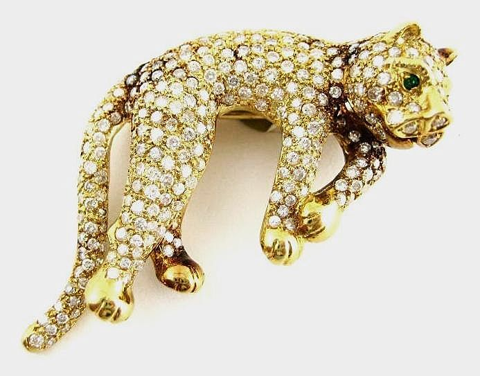 Vintage 18k Diamond & Emerald Panther Brooch