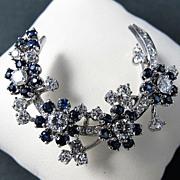 Magnificent 14K Vintage Diamond & Sapphire Brooch