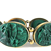 Magnificent Antique 14K Neoclassical Carved Malachite Bracelet