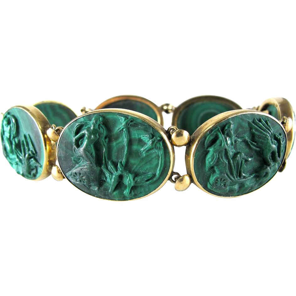 Magnificent Antique 14K Neoclassical Carved Malachite Bracelet