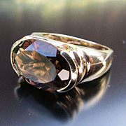 Lady's Art Deco 14K  Smoky Quartz Ring