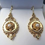 Lady's Circa 1900 Antique 14K Pearl Earrings