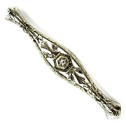 Vintage Lady's Filigree 14k White Gold Diamond Bar Pin