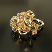 Vintage Lady's Circa 1960 14K Multi-Gem Ring
