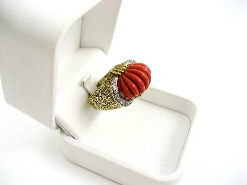Vintage Art Deco Lady's 18k Carved Coral & Diamond Ring