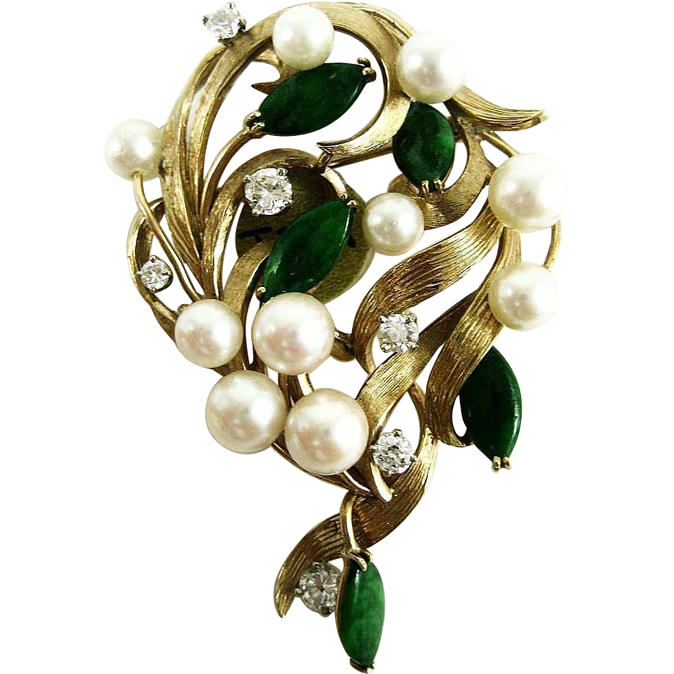 Vintage 14k Cultured Pearl, Diamond, & Jade Brooch