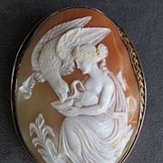 Large Antique 14K Ornate Mythological Cameo Of Eagle
