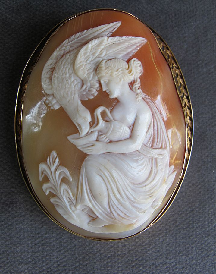 Large Antique 14K Ornate Mythological Cameo Of Eagle