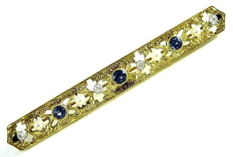 Exceptional Vintage 14k Yellow Gold Sapphire, Pearl & Diamond Bar Pin