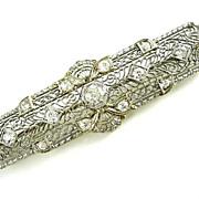 Vintage Lady's 14k White Gold Diamond Bar Brooch
