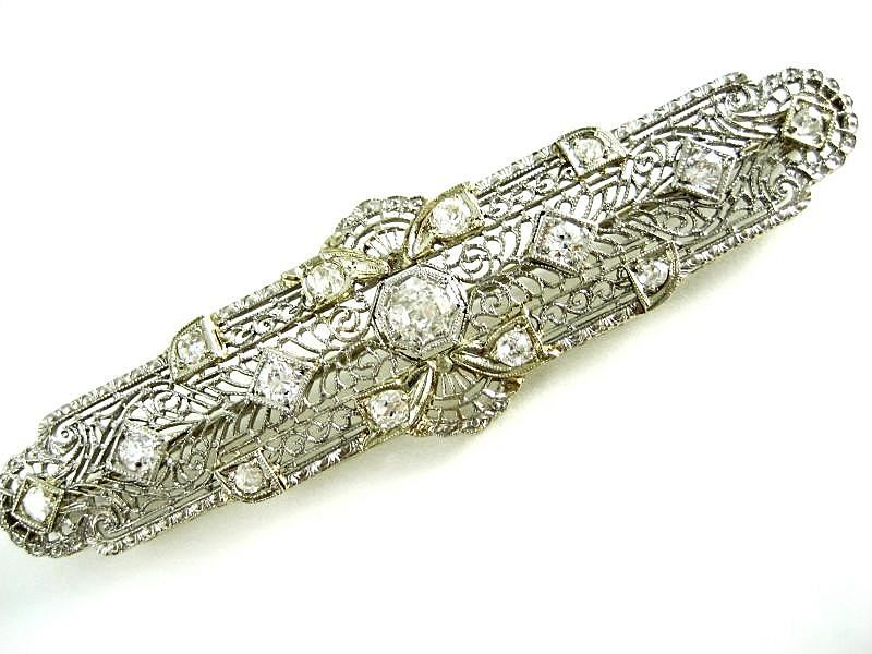 Vintage Lady's 14k White Gold Diamond Bar Brooch