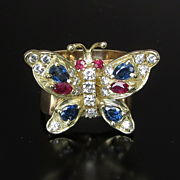 Exceptional Lady's  Vintage 14K Diamond Butterfly Ring