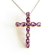 Beautiful Lady's Vintage 14K  Amethyst Cross