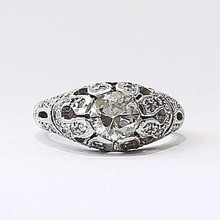 Lady's Art Deco 14K Diamond Engagement Ring