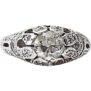 Lady's Art Deco 14K Diamond Engagement Ring
