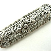 Circa 1920's Vintage Lady's 14k White Gold Bar Pin