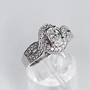 Lds. 14K White Gold Oval Diamond Art Deco Style Ring