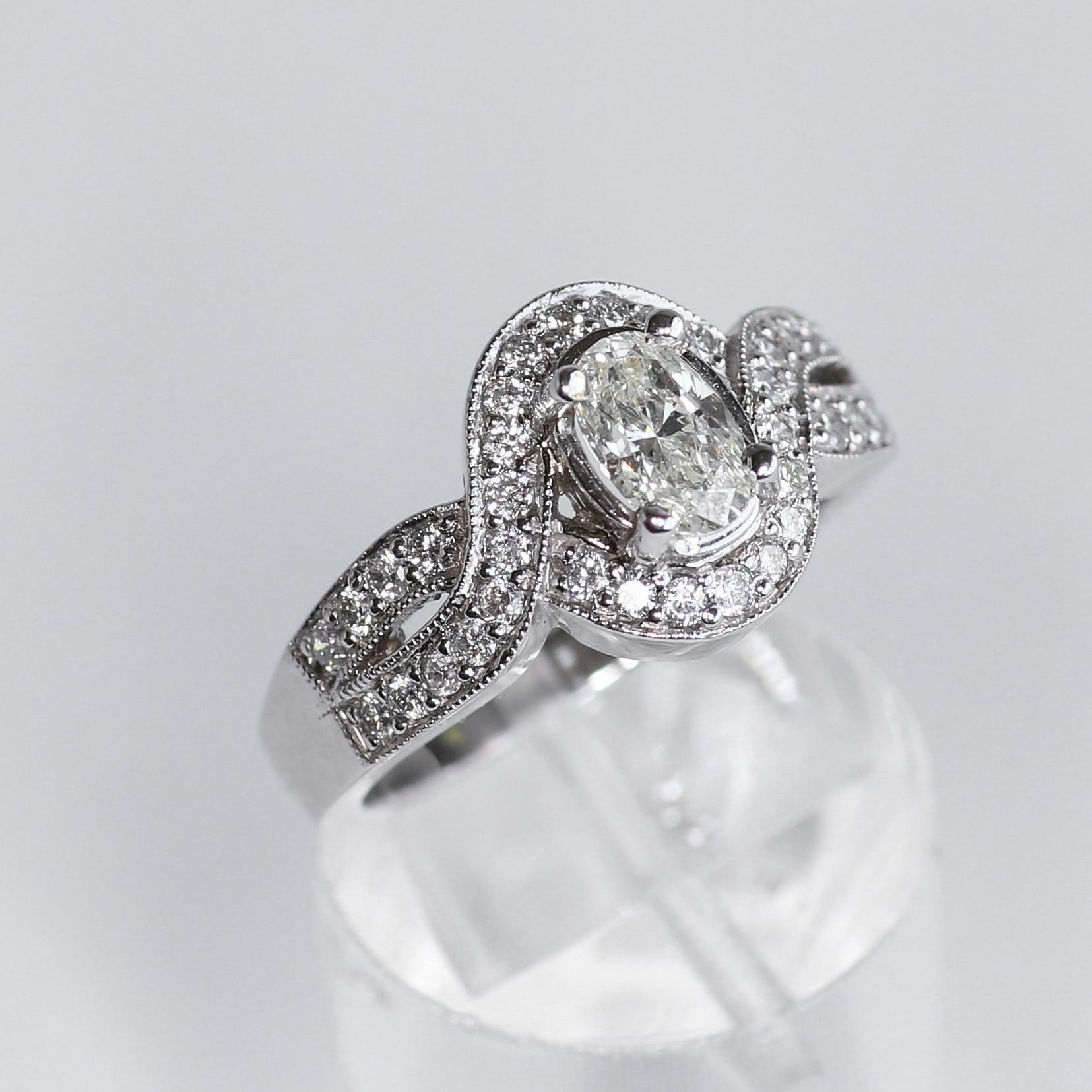 Lds. 14K White Gold Oval Diamond Art Deco Style Ring