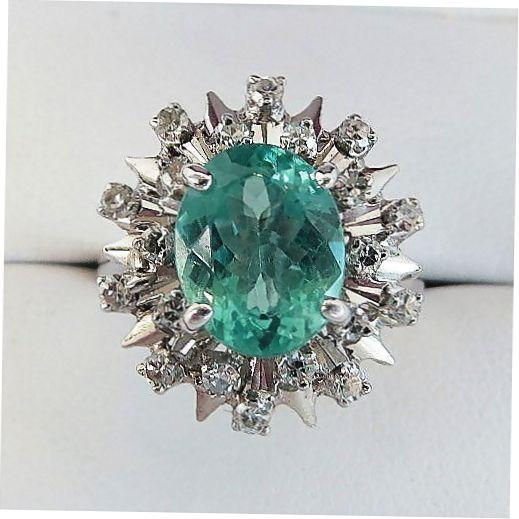Lady's Vintage 18K Paraiba Apatite & Diamond Ring