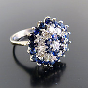 Exquisite Circa 1920's 18K Lady's Diamond & Sapphire Ring