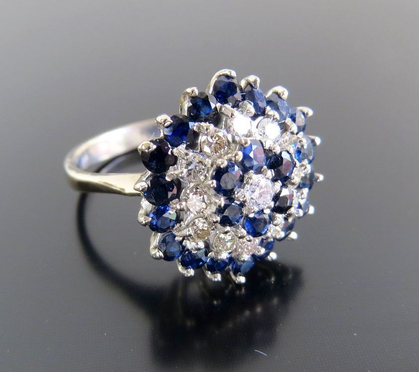 Exquisite Circa 1920's 18K Lady's Diamond & Sapphire Ring