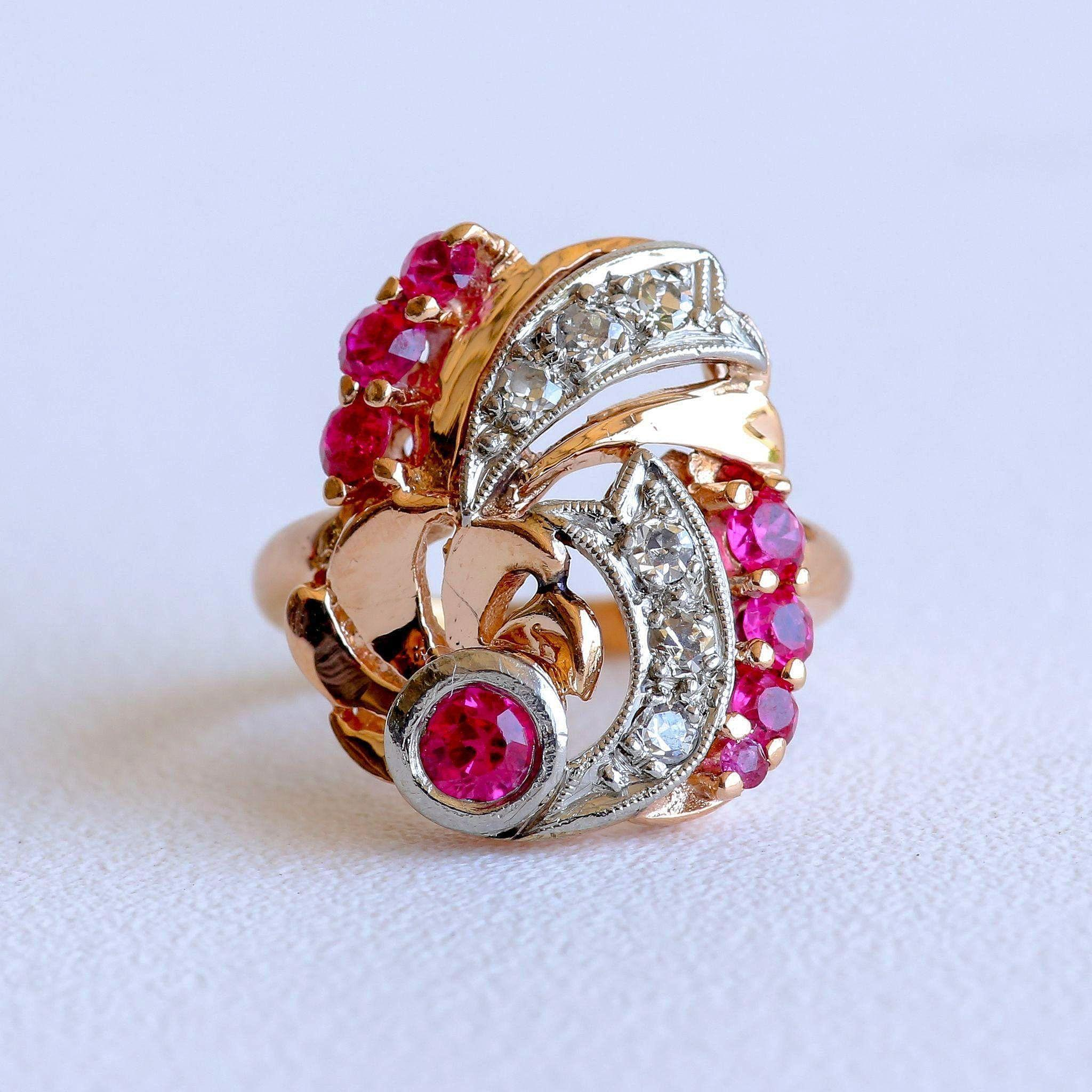 Lady's Circa 1930's Retro 14K Rose Gold Ruby & Diamond Ring