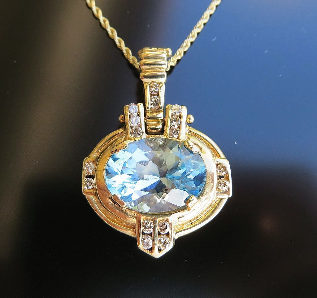 Lady's Vintage 14K Gold Sky Blue Topaz & Diamond Pendant Enhancer
