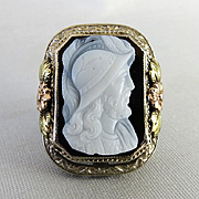 Circa 1900 Lady's 14K Tri-Colored Gold Agate Cameo Ring