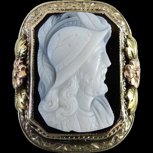 Circa 1900 Lady's 14K Tri-Colored Gold Agate Cameo Ring