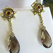Magnificent Pair Of Vintage Lady's  Topaz, Diamond, & Garnet Earrings