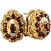 Lady's Vintage 18K Garnet Earrings