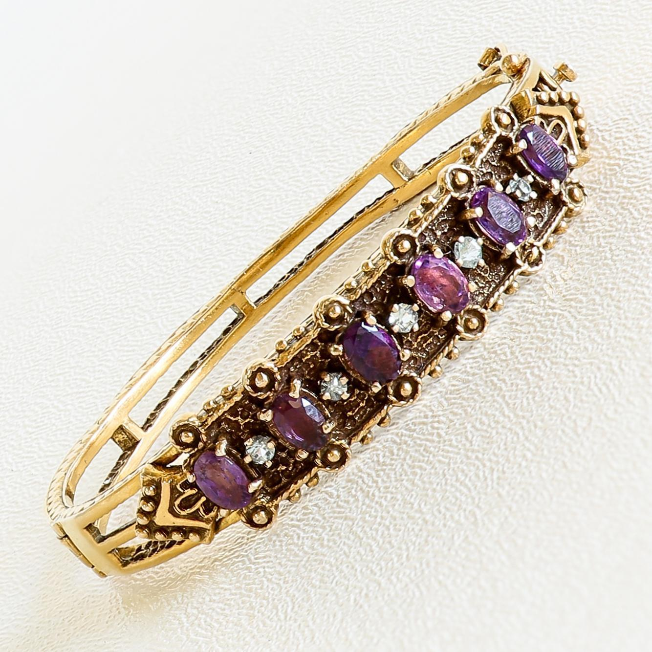 Lady's Vintage 14K Amethyst & Tourmaline Bangle Bracelet