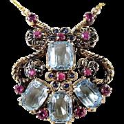 Exceptional Aquamarine - Ruby & Sapphire Rose Gold Retro Necklace